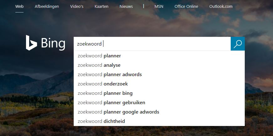 keyword analyse met Bing auto suggest